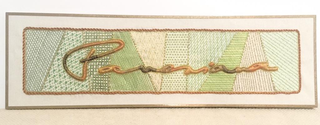crewel embroidery, silk padding